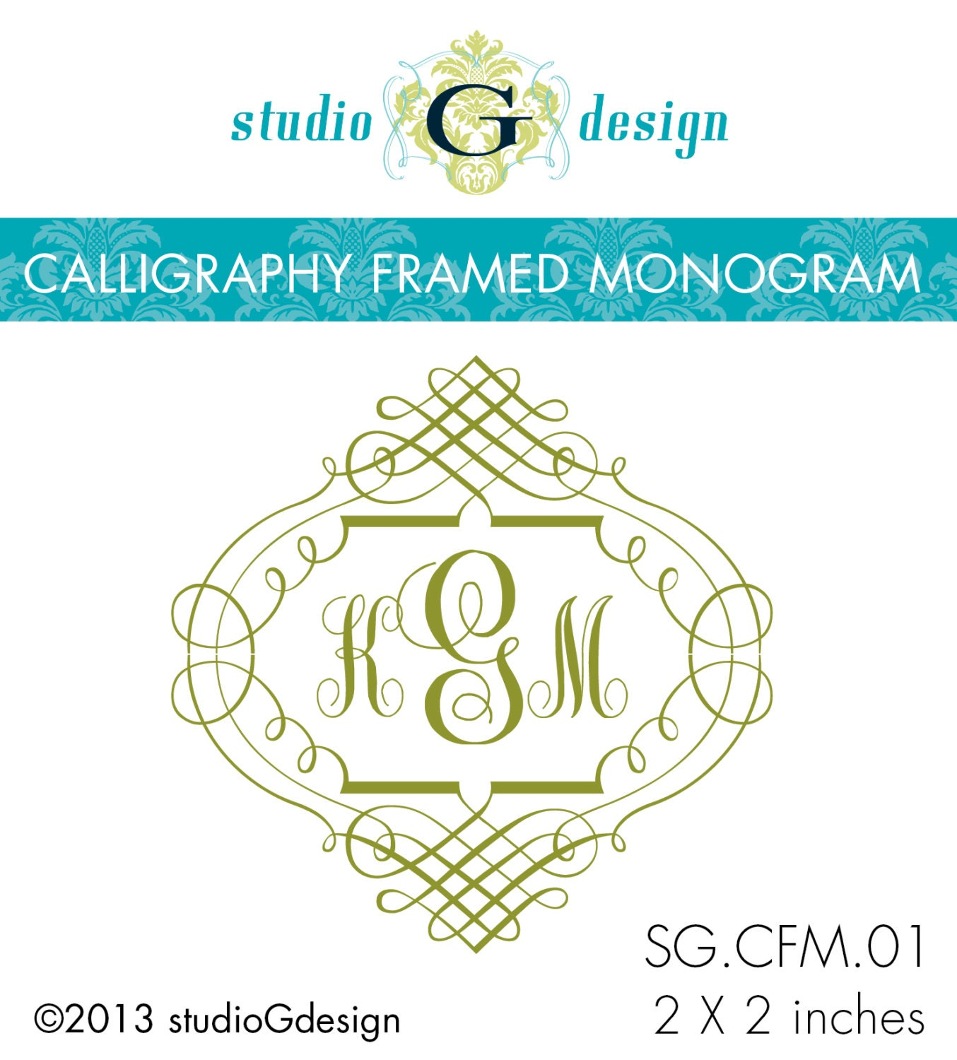 Wedding monogram stamp in calligraphy by studiogdesigns
