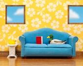 2 for 1 SALE - mallard duck art print, living room diorama: Nice Weather For Ducks