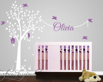 Nursery Wall Decal With Name Decal. Elegant garden tree nursery wall decal. Tree wall decal with name for boys and girls rooms.  1010