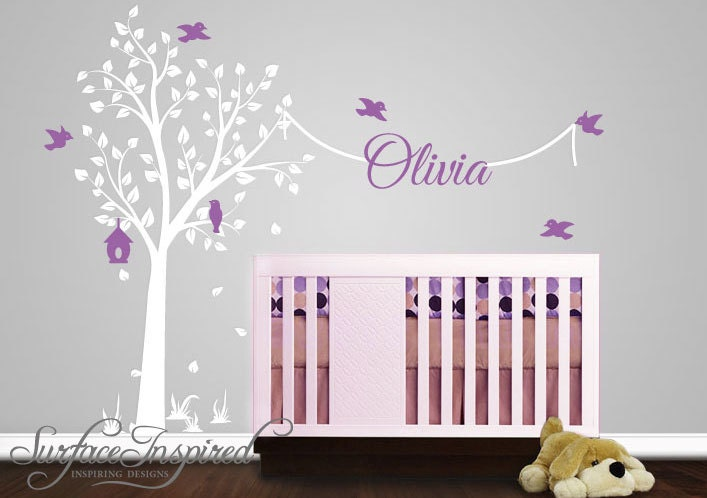 Nursery Wall Decal With Name Decal Elegant Garden Tree - Wall decals nursery