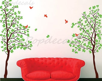 "Bedroom Tree Wall Decals Living Room Trees Decal Flying Birds Decal- Twin Tree(83"" H) -Vinyl Wall art decals graphic for home decor"