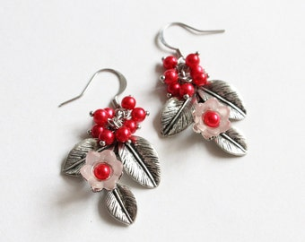 Flower Branch with Fruits Earrings (3 colors available)
