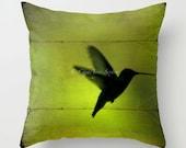 Peridot Hummingbird flight PILLOW 16 18 20 inch pillowcover chartreuse absinthe neon green Fine Art Home Decor Throw Pillow cover