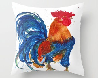 Country Home Rustic Rooster Fun Watercolor PILLOW 20x20  - Home and Living Fine Art Home Decor Pillow cover