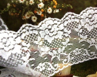 "5 yards 3 1/2"" width beautiful floral white scalloped lace trim"