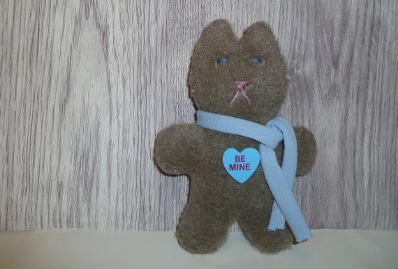 Valentine's day be mine cat plush gift / blue grey stuffed animal toy / gifts for lover friend Valentine