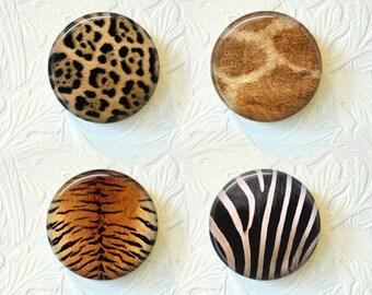 """Animal Prints Skin Magnets, Jaguar, Giraffe, Tiger, Zebra, Set of 4, 1.5"""" in Size,  Buy 3 Sets Get 1 Set Free   002M"""