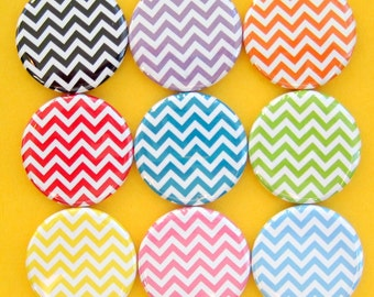 Chevron Magnets - Set of Nine 1.25 Inch Button Magnets Packaged in a Custom Box