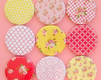 Magnets in Rose Patterns - Pink and Yellow - Set of Nine Magnets Packaged in a Custom Box