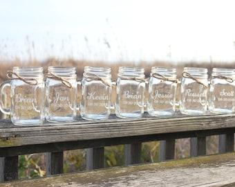 13 Mason Jar Mugs, Personalized Mason Jar Mugs, Engraved Mason Jar Mugs, Bridal Party Mason Jar Mugs, Wedding Keepsake,