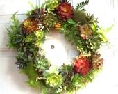 16in Wreath of Faux Succulents, Artificial Succulent Wreath, Front Door Wreath of Artificial Succulents, Rustic Door Wreath