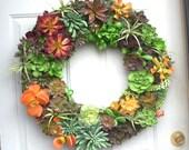 "22 "" Artificial Succulent Wreath,"