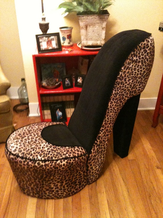 items similar to high heel shoe chair leopard and black on