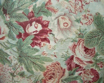 """Vintage 1930's Floral Cotton Fabric 1 Yd. L 36"""" W Pinks & Greens"""