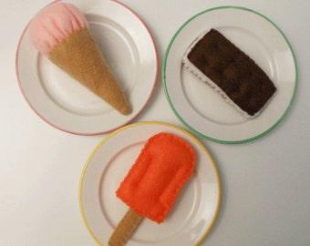 Felt Food Ice Cream Cone, Creamsicle, Ice Cream Sandwich