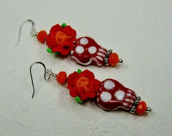 Day of the Dead Rockabilly Dia de los Muertos Skull Mexican Fiesta Cowgirl Earrings - ReD DeaD SKuLLs