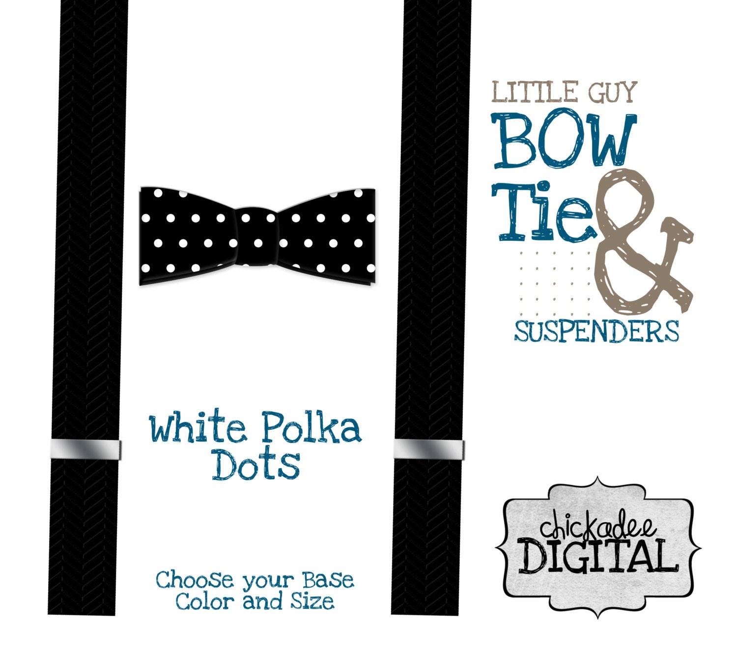 Printable Bowtie And Suspenders Black And White Polka Dot Bow