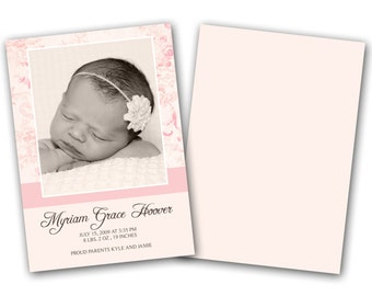 INSTANT DOWNLOAD -   Birth announcement photo card template, 5x7 card - 0154