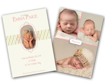 INSTANT DOWNLOAD -   Birth announcement photo card template, 5x7 card - 0788