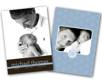 INSTANT DOWNLOAD - Birth announcement photo card template, 5X7 card - 0254