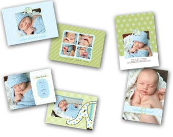 INSTANT DOWNLOAD - Birth announcement photo card templates, 3 pack - 0270-2