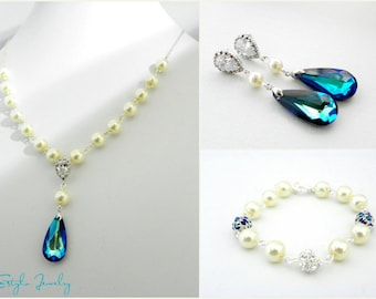 Pearl Wedding Jewelry Set, Bridal Earrings and Bracelet Set, Bridal Earrings and Necklace Set, Pearl Bridal Jewelry, Blue Bridal Jewelry
