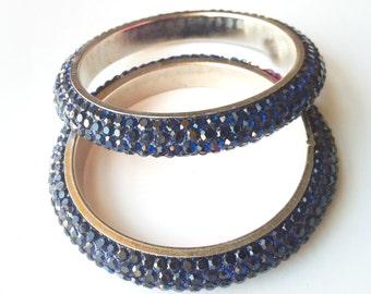 STACK BRACELET, Indian Bangles,Blue Bangle Bracelets,Diva Bangles set of 2, Ethnic Bangles, Wedding Jewelry,Bridal accessories by Taneesi