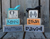Personalized Baby Child Name Announcement Wood block set family nursery baby kids room birthday gift home decor personalized