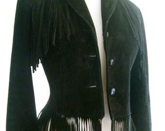Vintage Schott Black Suede Fringed Fitted Western Jacket Hippie Boho Costume Annie Oakley