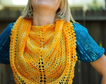 Yellow HandKnit Lace Triangle Shawl Scarf, Ready to Ship