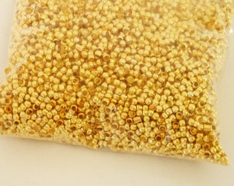 Gold Crimp Beads - Round Metal Stringing Beads - Stopper Beads - Gold Plated Crimps Beads - 2mm -10g - DiyJewelry Findings Supply