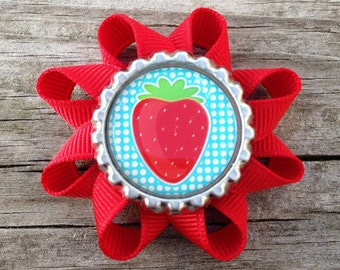 Strawberry Hair Bow, Red Strawberry Hair Clip, Toddler Hair Clip, Girls Strawberry Hair Bow, Girls Hair Accessories, Bows for GIrls