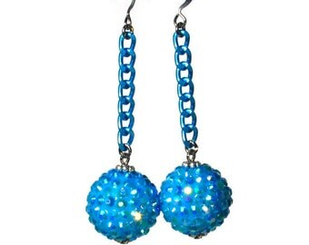 Rockabilly Earrings, Retro Jewelry, Turquoise, Bead Dangle, Sparkly Baubles