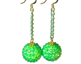 Super Sparkly Lime Dangle Earrings, Lime Green, Retro Jewelry, Dangling, Baubles