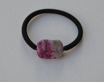 Semi precious China charoite rectangle bead, ponytail holder