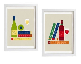 "French & Italian wine art 2 Print Set  11""x15"" - Tuscany Provance travel wine gourmet food - fine art giclee prints"