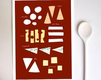 "Cheese Chart Kitchen Art Print 8.3x11.7"" - Gourmet Food high quality fine art print"