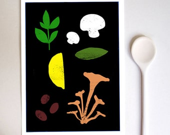 "Good Food 1 Kitchen print 8.3"" x 11.7""- A4 - high quality fine art print"