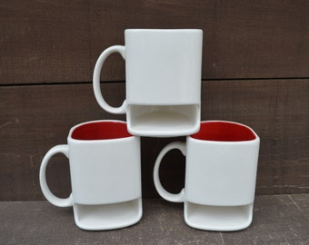 White with Apple Red - Ceramic Cookies and Milk Dunk Mug - Ready to Ship