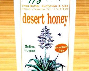 Desert Honey Scented Hand Cream for Knitters - 4oz Medium HAPPY HANDS Shea Butter Hand Lotion