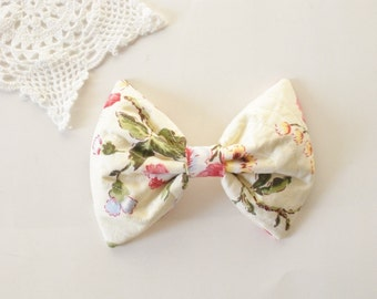 Vintage Flowers Hair Bow, For Girls, For Women
