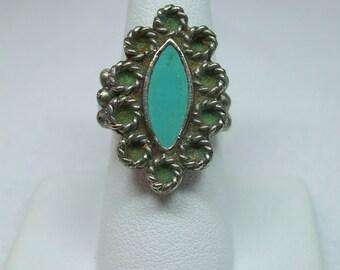 Vintage silvertone enamel blue adjustable