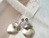 Silver Heart And Crown Charm Earrings Swarovski Crystals Queen Of Hearts Earrings