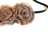 Taupe Chiffon Fabric Flower Headband