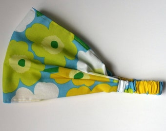 Marimekko Cotton Headband Green Yellow Blue Mini Unikko Fabric