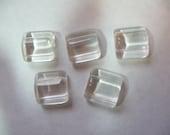 SALE!! Bead, Preciosa, Czech, Pressed Glass, Clear, 15x15mm, Double Drilled, Square Triangle, Pkg Of 6 SALE !!!!!!!!!!