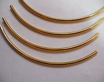 Bead, Gold Plated Brass, 100x3mm, curved tube, with 2mm hole size. Pkg of 8 tubes.