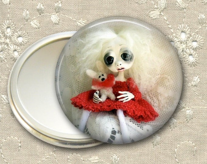 gothic doll pocket mirror,  original art  hand mirror, mirror for purse, bridesmaid gift, stocking stuffer MIR-AD27