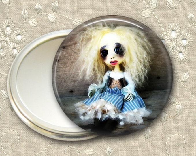 gothic doll pocket mirror,  original art  hand mirror, mirror for purse, bridesmaid gift, stocking stuffer MIR-AD37