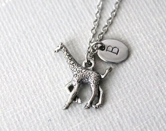 Giraffe Necklace. antique silver giraffe charm with personalized Initial tag, monogram
